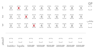 SELECT YOUR NUMBERS FROM 0 TO 9 CHOOSING  A NUMBER FROM EACH ROW